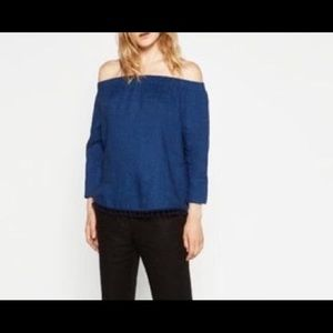 Zara Women's Off the Shoulder Blue Top